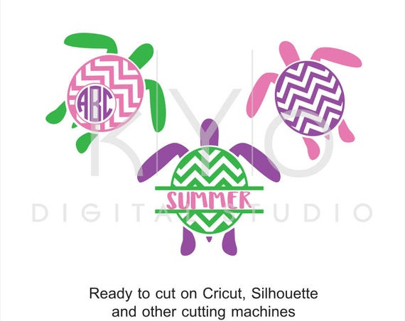 Turtle SVG, Summer SVG, Tropical svg, Sea Turtle svg files, Monogram svg, Chevron Turtle studio dxf svg files for Cricut and Silhouette