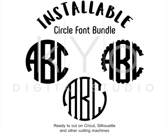 Cricut true type fonts Circle Monogram true type TTF Fonts, Cricut Monogram Fonts ttf, Silhouette Monogram Fonts ttf, Installable fonts