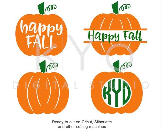 Happy Fall svg Pumpkin svg Pumpkin Monogram svg Fall Autumn Harvest Halloween svg files for Cricut Silhouette png dxf eps iron on htv design