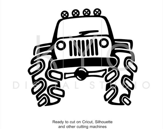 Jeep Off Road Big 4x4 Truck Hand Draw Svg Dxf Png Eps AI files for Cricut Explore and Silhouette Cameo