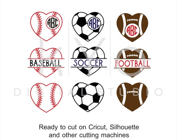 Sport SVG, Heart Ball SVG, Basketball Football Soccer Baseball Volleyball Tennis ball svg, studio dxf svg files for Cricut and Silhouette