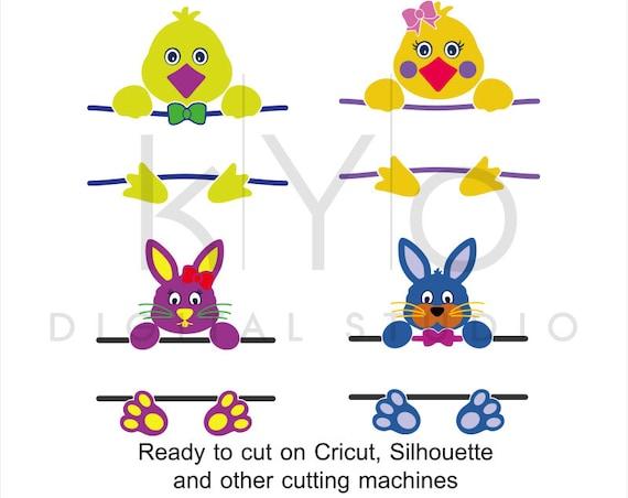 Bunny svg, Chick svg, Bunny Split svg, Chick Split svg, Easter svg, Easter Bunny Chick svg files for Cricut and Silhouette Studio