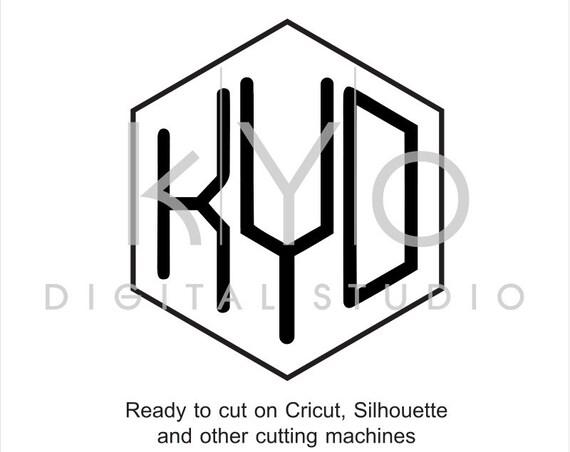 Hexagon monogram font svg files, Hexagonal monogram font svg, six sided monogram, cricut design space, silhouette, svg files, digital font