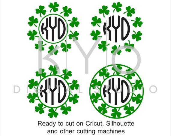 St Patrick's Day SVG Monogram Frame Clover Shamrock Irish SVG Cut Files for Cricut Silhouette Brother Scan N Cut