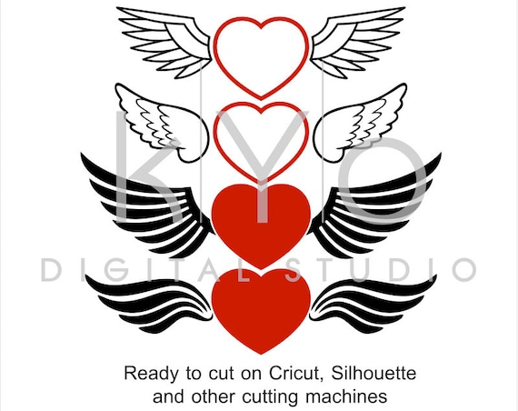Love Heart with Wings Valentines Day SVG files for Cricut Silhouette