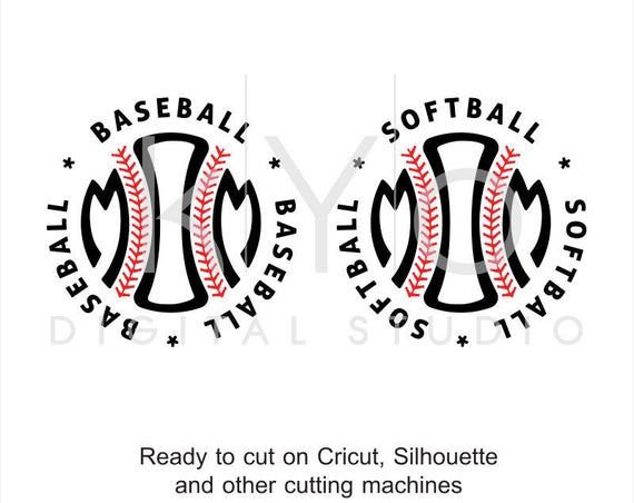 Baseball Softball Mom Stitches Monogram SVG dxf png eps cut files for Cricut and Silhouette