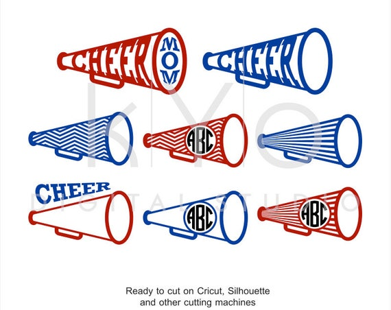 Cheer Leader Megaphone SVG DXF PNG, Cheer Svg, Cheer Monogram frame svg files for Cricut Explore and Silhouette Cameo Cheer leader svg