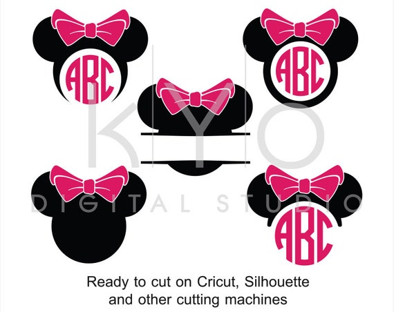 Minnie Ears SVG cut files, Disney Mouse Ears SVG, Mouse Head svg, Minnie Mouse monogram svg, Minnie svg file for Cricut and Silhouette Cameo