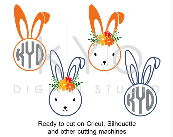 Easter Bunny SVG cut files, Easter Rabbit svg, Circle Monogram SVG, Easter svg, cuttable svg files for Cricut and Silhouette Cameo #svg