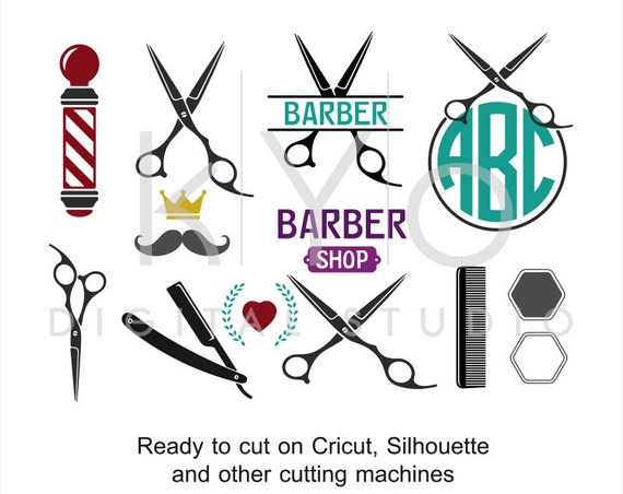 Barber Shop Hair Dresser Salon Hairstylist Scissors svg dxf png eps cut files for cricut explore and silhouette cameo