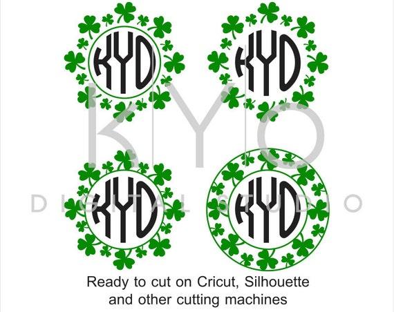 St Patricks Day svg Shamrock Wreath svg St Patricks Day wreath monogram frame svg Clover Shamrock svg files for Cricut and Silhouette #svg