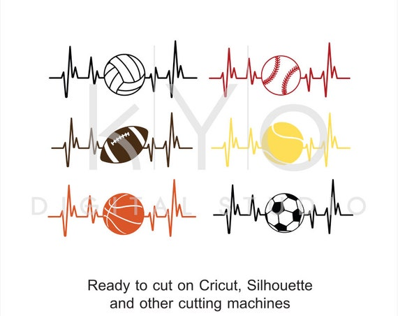 Sport SVG, Heart Beat SVG, Basketball Football Soccer Baseball Volleyball Tennis svg, studio dxf svg files for Cricut and Silhouette