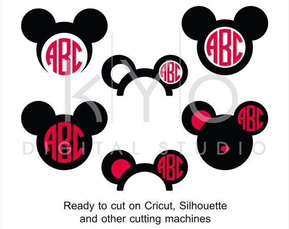 Mickey Ears SVG cut files, Disney Mouse Ears SVG, Mouse Head svg, Mouse monogram, Mickey svg files for Cricut and Silhouette Cameo #svg