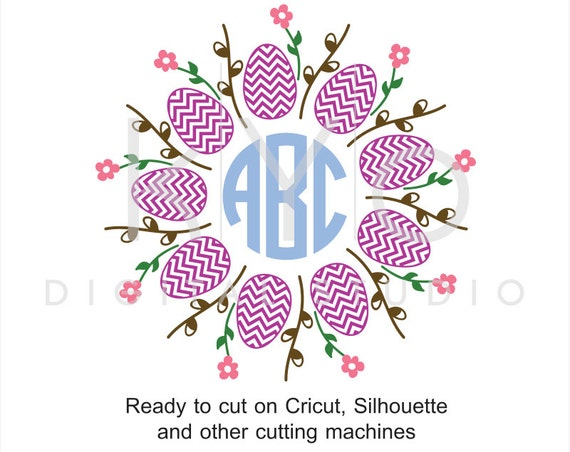Easter Egg Pussy willow svg, Monogram frame SVG cut files, Easter Monogram SVG, Flower svg cuttable svg files for Cricut and Silhouette