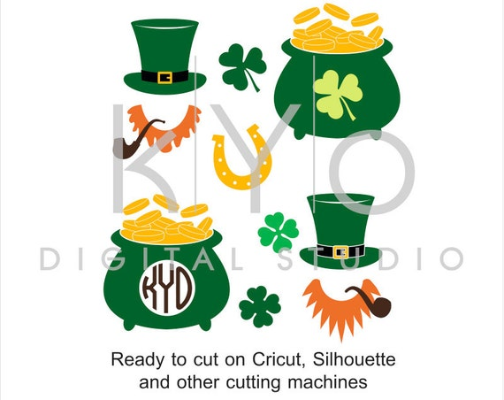 St Patricks Day SVG cut and print files, St Patricks gold pot hat clover shamrock SVG, cuttable svg files for Cricut and Silhouette #svg