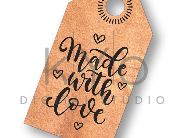 Made With Love Tag svg Product Tag svg Hand lettered Quote SVG Gift Tag SVG Png Studio3 Dxf SVG Commercial use svg for Cricut Love Svg