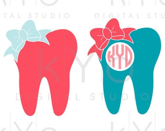 Dentist svg Tooth svg Bow svg Tooth fairy svg Tooth monogram svg SVG Png Studio3 Dxf Commercial use svg for Cricut Silhouette files