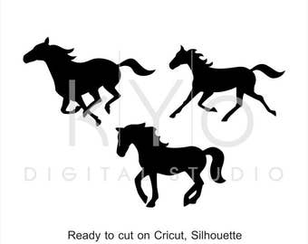 Horse Silhouette SVG Cut Files Clipart Running Mustang Equestrian Cuttable Svg Dxf Png Eps For Cricut And