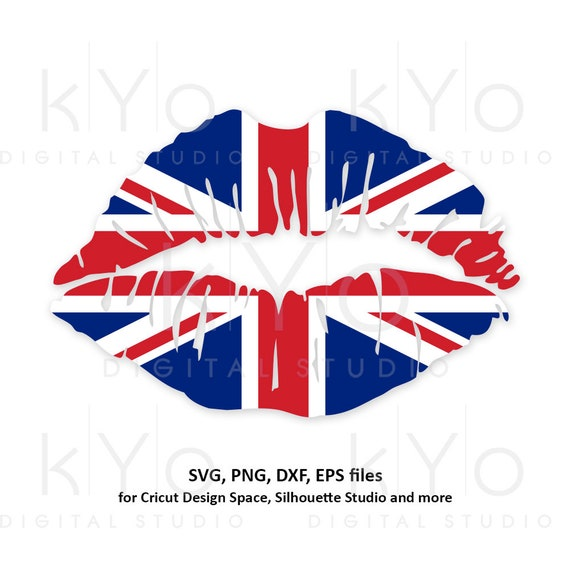 UK flag Girl Lips svg, United Kingdom Flag svg, Union Jack Svg, British flag svg files for Cricut Silhouette png Clipart dxf eps Vector