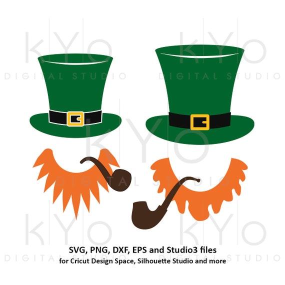 St Patricks Day Leprechaun Hat Beard svg, Leprechaun svg, Leprechaun svg png dxf svg files for Cricut and Silhouette beard and hat svg