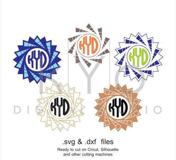 Star Circle Monogram frame SVG cutting file, Circle star svg files, svg files for Cricut and Silhouette, Cameo files, digital download