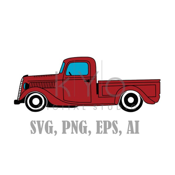 Old Pickup Truck SVG files, 1937 Ford Pickup truck Svg files, vintage pickup truck svg, car svg, transport svg, red pickup svg