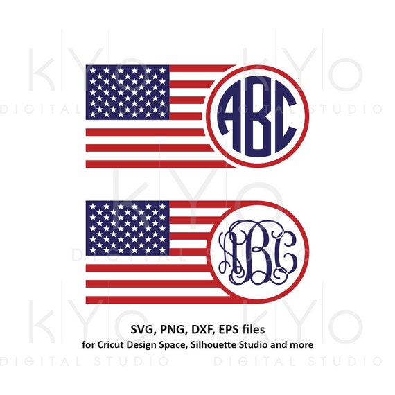 American flag monogram svg 4th of July svg American monogram svg Stars and stripes svg png dxf files for Cricut Silhouette dxf png files