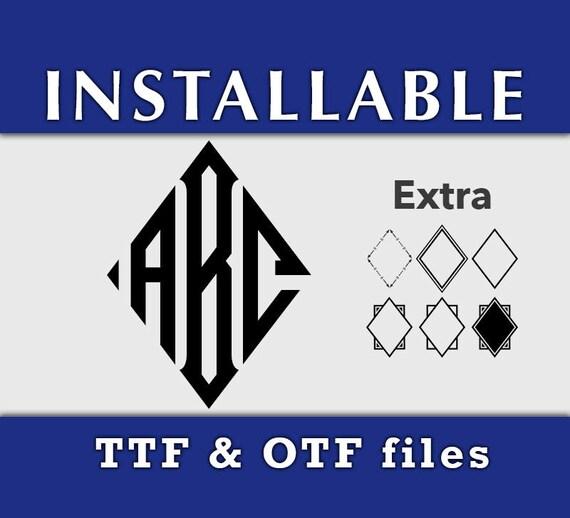 INSTALLABLE Diamond Monogram True Type Font, Installable Fonts for Cricut, TTF OTF Monogram Font for Cricut Explore Silhouette Studio