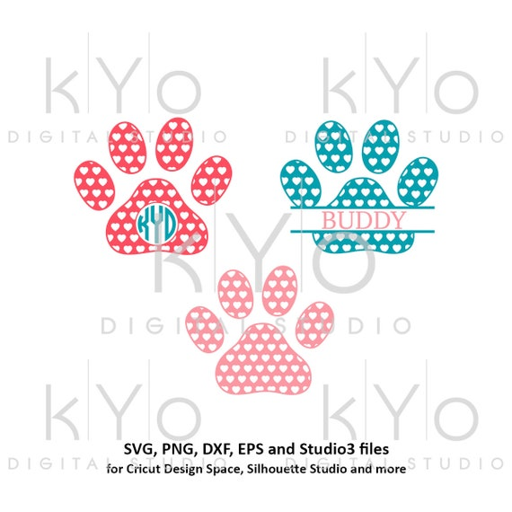 Paw svg Heart pattern Paw monogram svg Dog paws svg Animal svg Patterned paw svg Paw patrol svg png dxf studio3 pattern svg