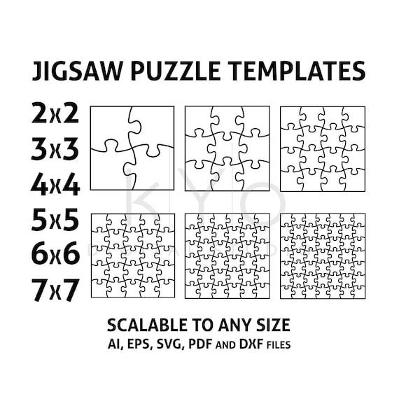 Jigsaw Puzzle Templates Ai Eps Svg Pdf Dxf Files Square Etsy