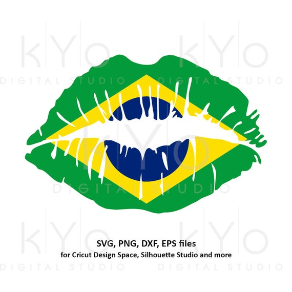 Brazil flag Girl Lips svg Brazilian flag lips svg Brasil flag lips svg files for Cricut Silhouette png Clipart Vector dxf Cutting file