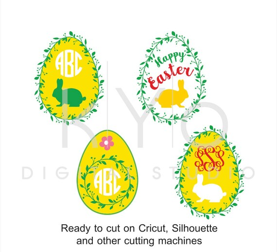 Easter Egg SVG cut files, Easter Monogram SVG, Easter bunny svg, Happy Easter svg, Wreath svg cuttable svg files for Cricut and Silhouette
