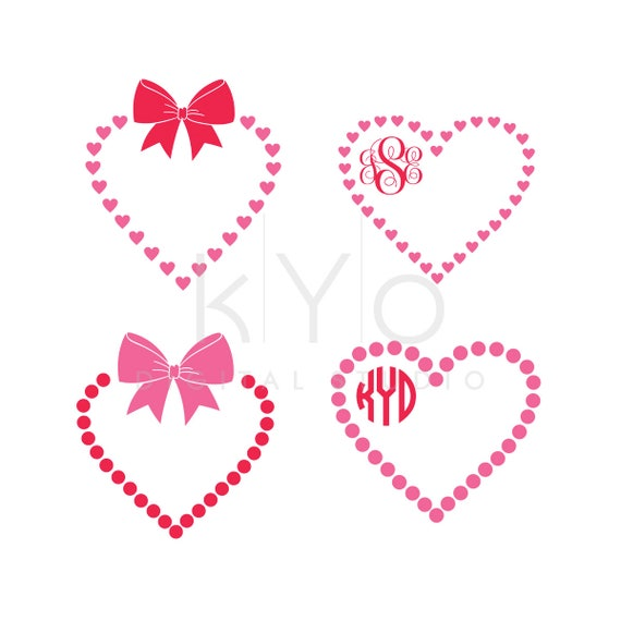 Valentines Day SVG cut files, Love Heart SVG, Bow svg, Heart monogram frame svg,  Wedding svg cut files for Cricut and Silhouette