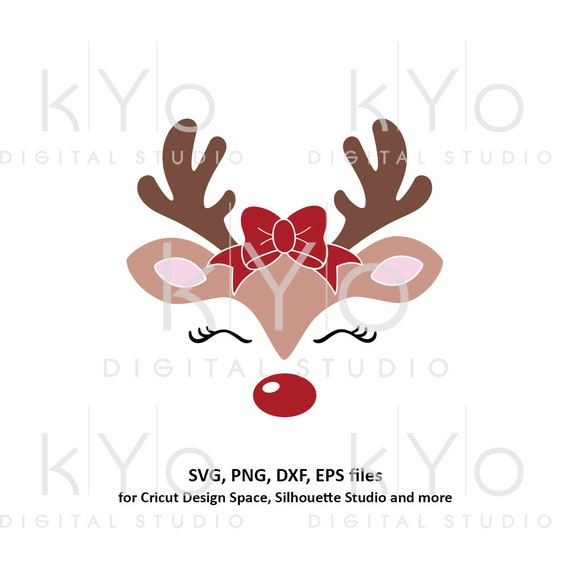 Reindeer face with bow svg Girl reindeer svg Eyelashes svg Cute reindeer svg files for Cricut Silhouette Christmas dxf files