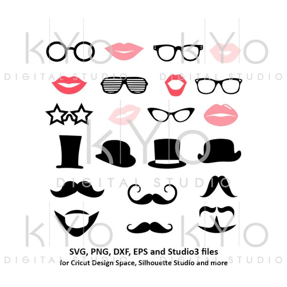 Photo Booth Props svg Party svg Wedding svg Moustache svg Hat svg Glasses svg Lips svg files for cricut silhouette photo booth props party