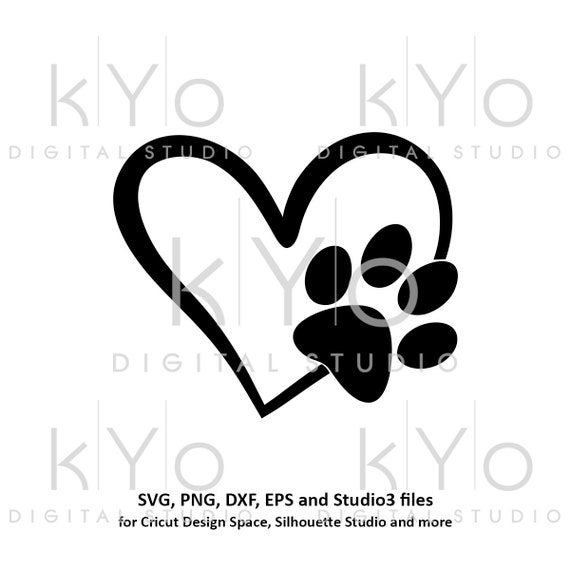 Paw svg Paw in Heart svg Dog Cat Love Pet paw svg Heart with paw print svg Pet love svg Paw patrol svg files for cricut silhouette