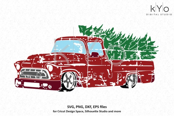 Distressed Christmas Truck svg Merry Christmas svg Red old truck svg Vintage chevy truck svg dxf png files for Cricut Silhouette cut files