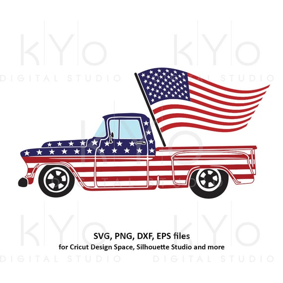 4th of July Truck svg American truck svg Fourth of July svg American flag svg Independence Day svg files for Cricut Silhouette US flag svg