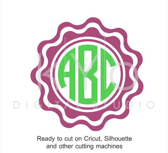Scalloped Circle Monogram Frame SVG files for Cricut Explore Silhouette Cameo