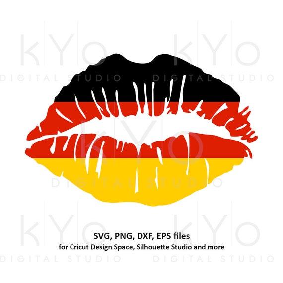 German flag Girl Lips svg German shirt svg Germany flag svg Deutsche Flagge svg files for Cricut Silhouette png Clipart Vector dxf Cut file