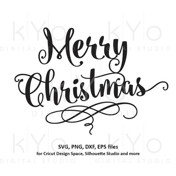 Merry Christmas svg Hand lettering Christmas svg Hand written Merry Christmas card svg files for Cricut and Silhouette dxf files
