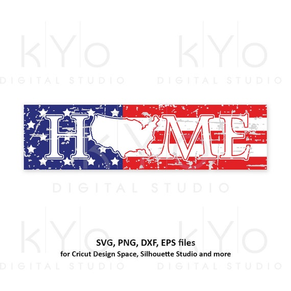 Distressed USA Home sign svg 4th of July svg American Flag svg Stars and stripes svg Home svg USA svg png dxf files for Cricut Silhouette