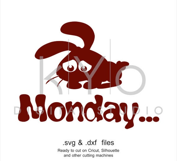 Monday svg Sad bunny SVG cutting file, rabbit ears SVG, lazy svg dxf files for Cricut Explore and Silhouette Cameo files