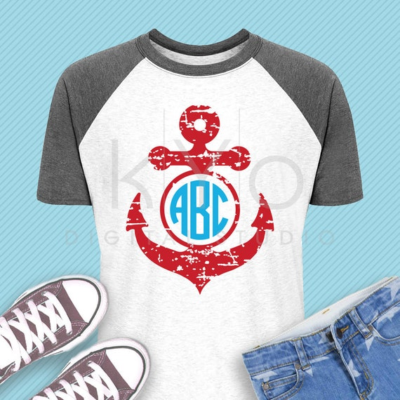 Distressed Anchor monogram svg Nautical svg Navy svg Distressed svg Summer kids shirt svg dxf png eps files for Cricut and Silhouette