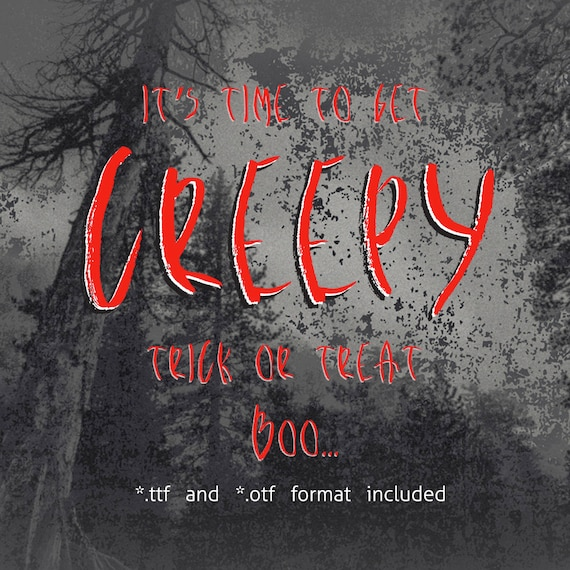 Creepy Bush Halloween true type font ttf otf font for printing Halloween font Distressed font Grunge font Creepy script installable font