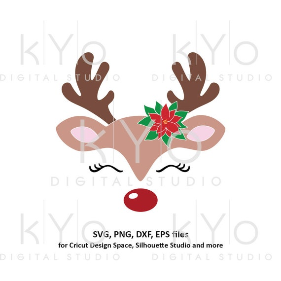 Reindeer face with poinsettia svg Cute Girl reindeer svg Eyelashes svg Christmas reindeer svg files for Cricut Silhouette Christmas dxf file