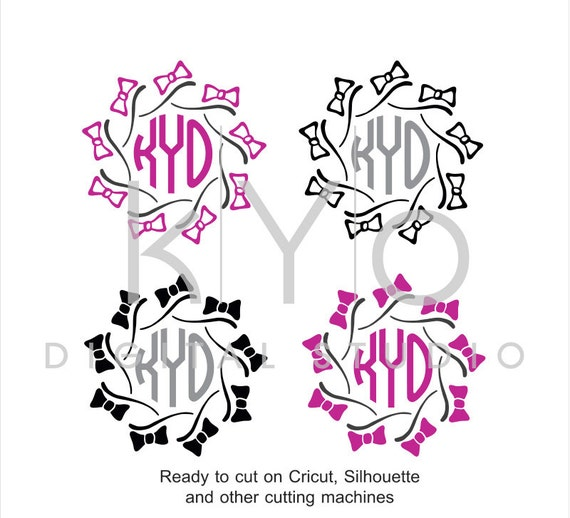 Bow SVG cutting files, Bow Monogram frame SVG, Hand Draw Bows svg files, Pearls SVG files, svg files for Cricut and Silhouette, Cameo files