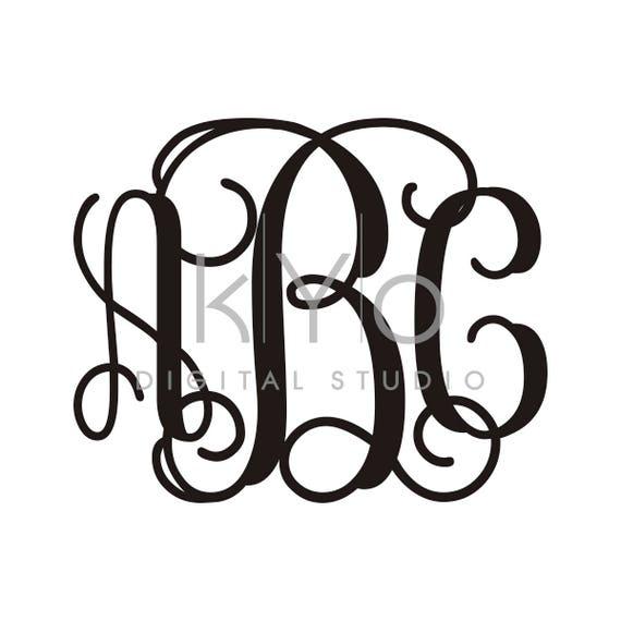 Cricut Monogram letters SVG cut files, Interlocking Monogram font SVG files for Cricut Silhouette dxf files, Vine Monogram letters svg font