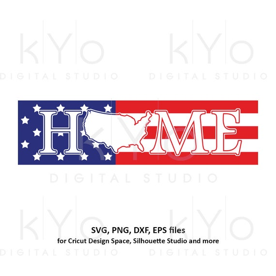 4th of July svg US American Flag svg USA Home sign svg Stars and stripes svg Home svg USA map svg png dxf files for Cricut Silhouette dxf