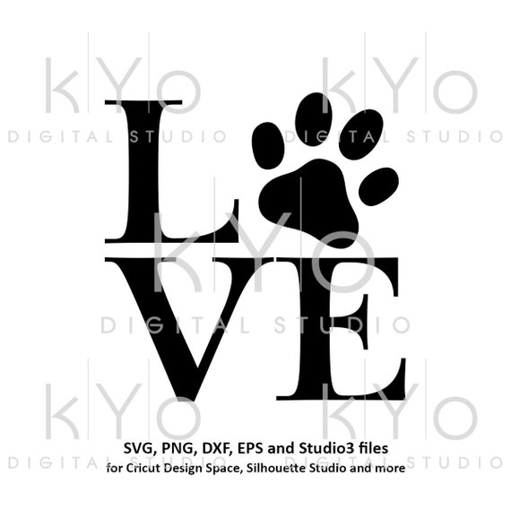 Paw svg Love Paw Print svg Animal svg Dog Cat Love svg Love with paw print svg Pet love svg Paw patrol svg files for cricut silhouette
